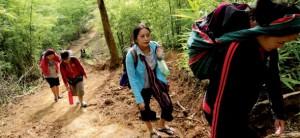 karen trek up mountian 300x138 Karen Village on the Thai Myanmar Border