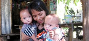 karen twin baby 300x138 Karen Village on the Thai Myanmar Border